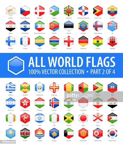 welt-flaggen - vektor sechseck glänzend-icons - teil 2 von 4 - flagge von georgien stock-grafiken, -clipart, -cartoons und -symbole