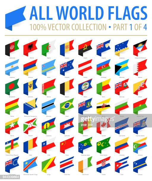 world flags - vector isometric label flat icons - part 1 of 4 - machine part stock illustrations