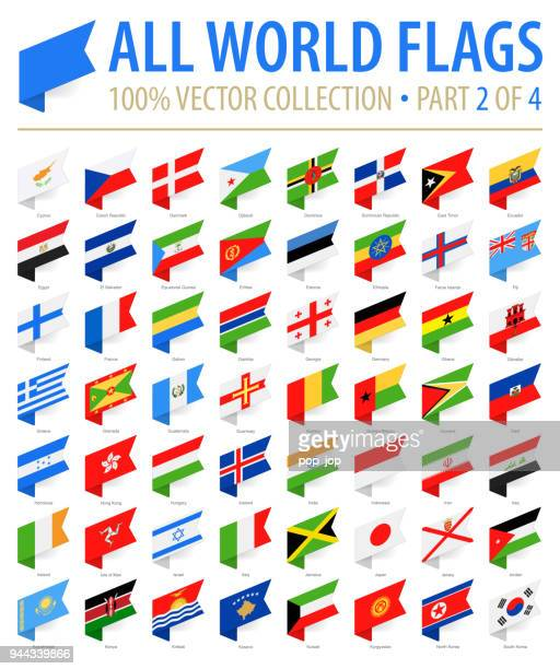 world flags - vector isometric label flat icons - part 2 of 4 - flag stock illustrations