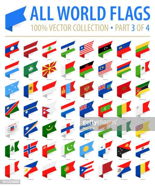 world flags - vector isometric label flat icons - part 3 of 4 - national flag stock illustrations