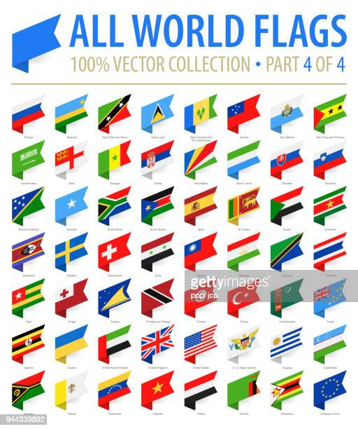 world flags - vector isometric label flat icons - part 4 of 4 - flag stock illustrations