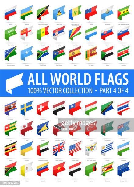 世界のフラグ - ベクトルの等尺性ラベル光沢のあるアイコン - 4 のパート 4 - タイ王国点のイラスト素材/クリップアート素材/マンガ素材/アイコン素材