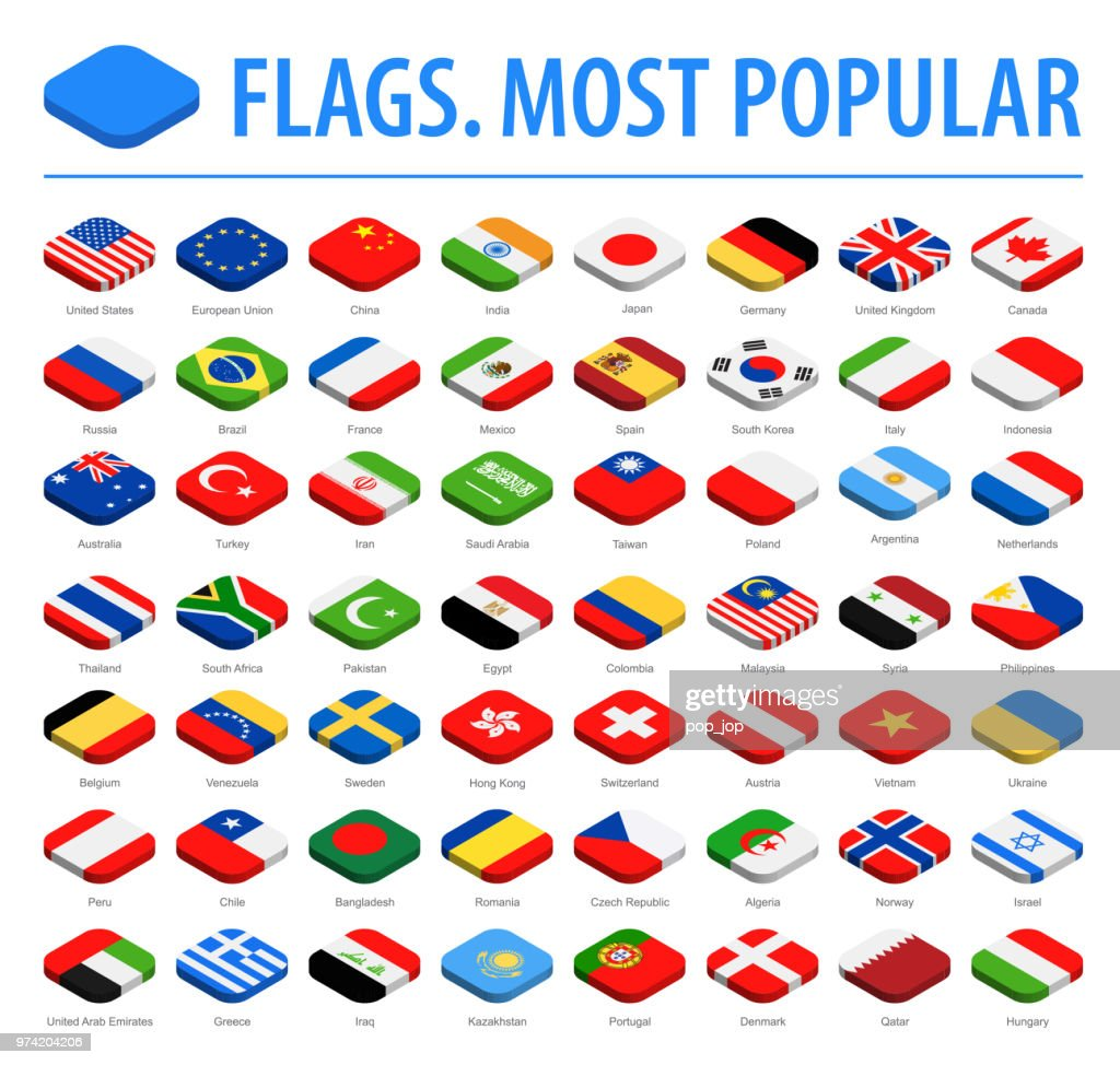World Flags - Vector Isometric Rounded Square Flat Icons - Most Popular : Stock Illustration