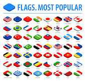 World Flags - Vector Isometric Rounded Square Flat Icons - Most Popular