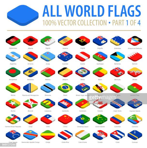 world flags - vector isometric rounded square flat icons - part 1 of 4 - croatian flag stock illustrations, clip art, cartoons, & icons