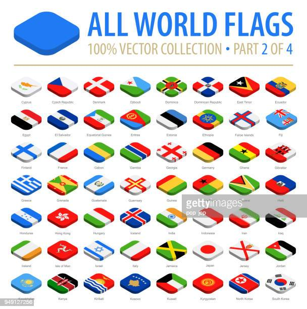world flags - vector isometric rounded square flat icons - part 2 of 4 - letrac stock illustrations