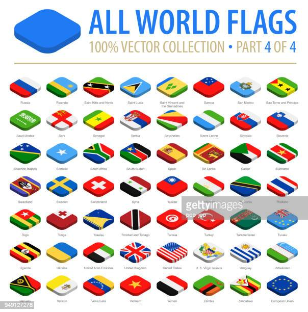 world flags - vector isometric rounded square flat icons - part 4 of 4 - letrac stock illustrations