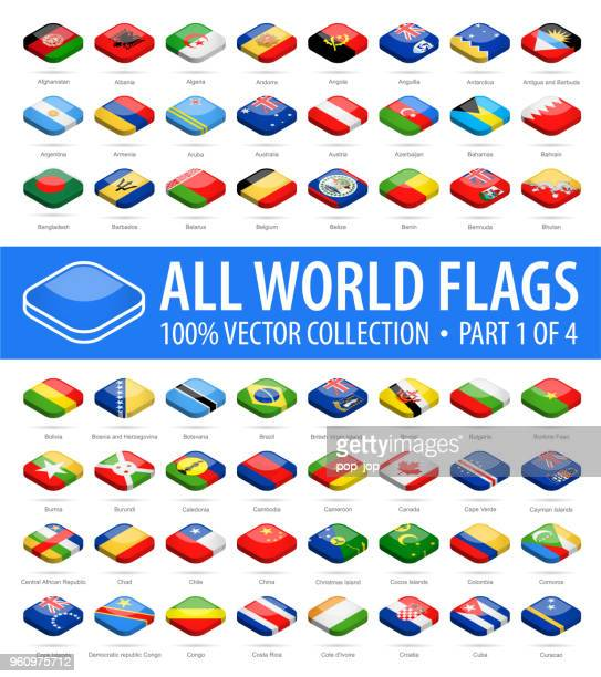 world flags - vector isometric rounded square glossy icons - part 1 of 4 - letrac stock illustrations