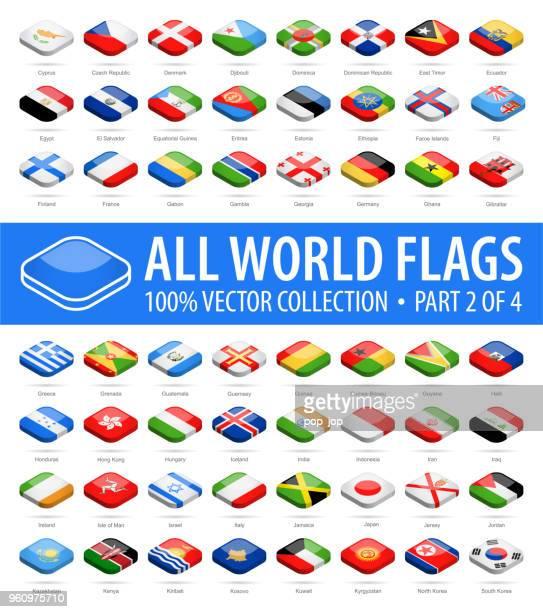 welt-flaggen - vektor isometrische abgerundet quadratisch glänzend icons - teil 2 von 4 - flagge von georgien stock-grafiken, -clipart, -cartoons und -symbole
