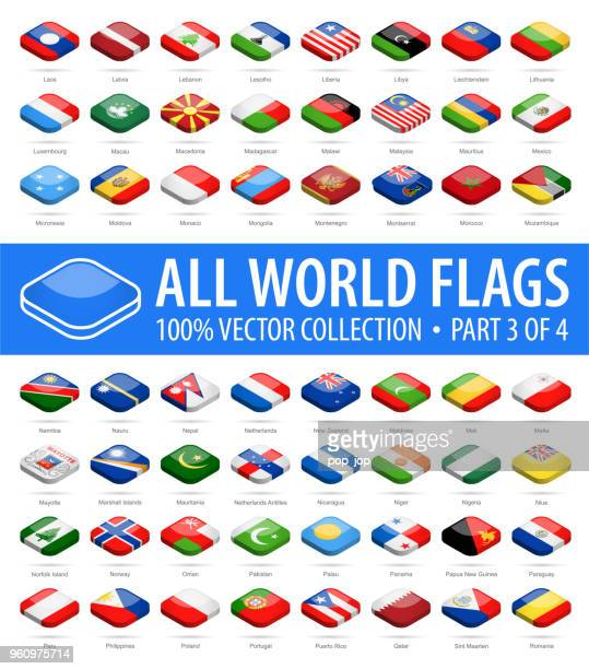 welt-flaggen - vektor isometrische abgerundet quadratisch glänzend icons - teil 3 von 4 - polnische flagge stock-grafiken, -clipart, -cartoons und -symbole
