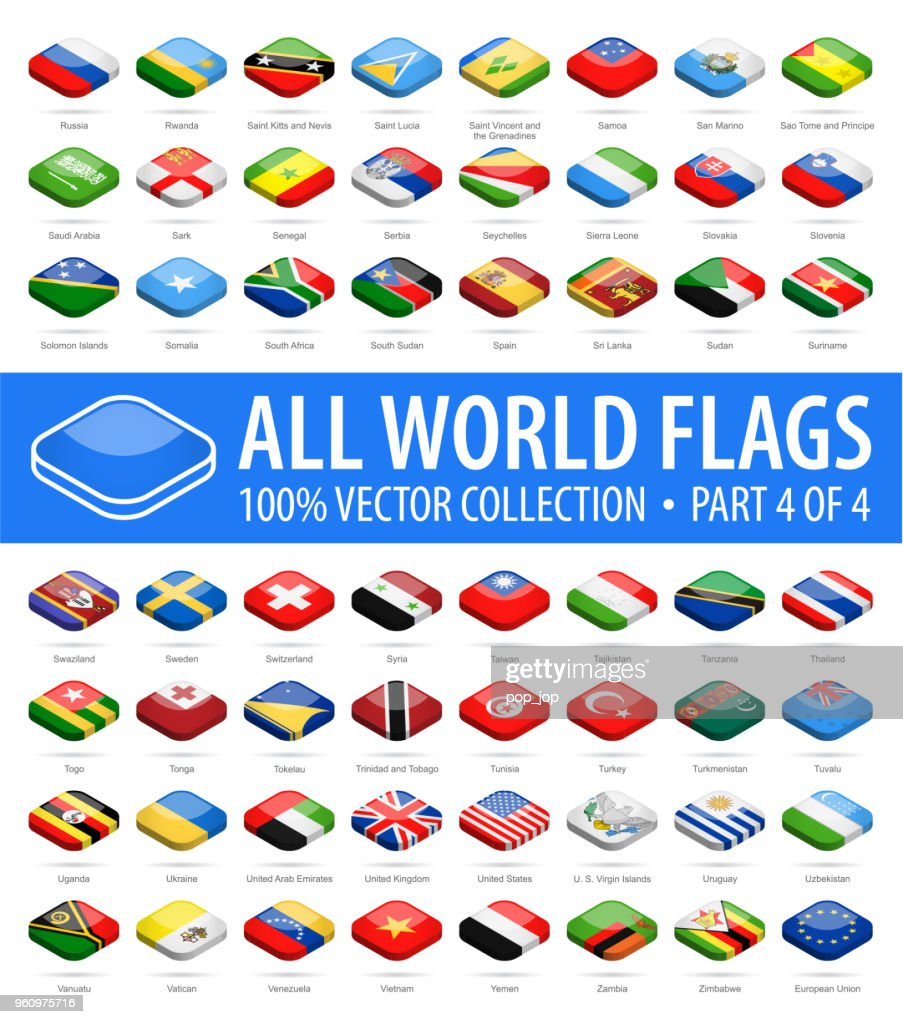 World Flags - Vector Isometric Rounded Square Glossy Icons - Part 4 of 4 : Stock Illustration