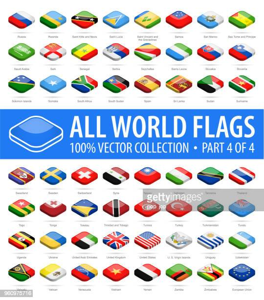 world flags - vector isometric rounded square glossy icons - part 4 of 4 - letrac stock illustrations