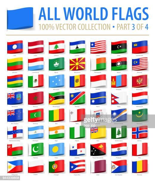 welt-flaggen - vektor label tag flach-symbole - teil 3 von 4 - portugal stock-grafiken, -clipart, -cartoons und -symbole
