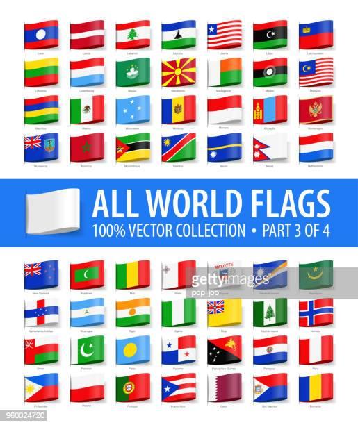 welt-flaggen - vektor-label-tag glänzend icons - teil 3 von 4 - polnische flagge stock-grafiken, -clipart, -cartoons und -symbole