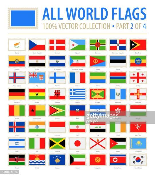 welt-flaggen - vektor poststempel flach-icons - teil 2 von 4 - flagge von georgien stock-grafiken, -clipart, -cartoons und -symbole