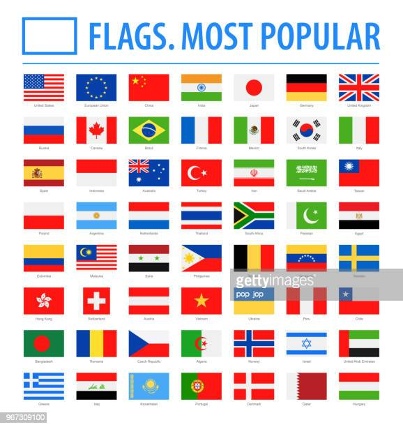 world flags - vector rectangle flat icons - most popular - flag stock illustrations