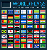 World Flags - Vector Rectangle Flat Icons on Dark Background - Part 2 of 4