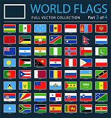 World Flags - Vector Rectangle Flat Icons on Dark Background - Part 3 of 4