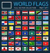 World Flags - Vector Rectangle Flat Icons on Dark Background - Part 4 of 4