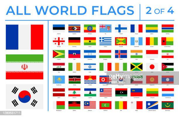 world flags - vector rectangle flat icons - part 2 of 4 - all european flags stock illustrations