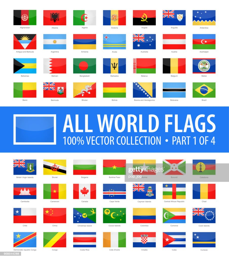 World Flags - Vector Rectangle Glossy Icons - Part 1 of 4 : stock illustration