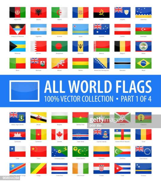 world flags - vector rectangle glossy icons - part 1 of 4 - flag stock illustrations
