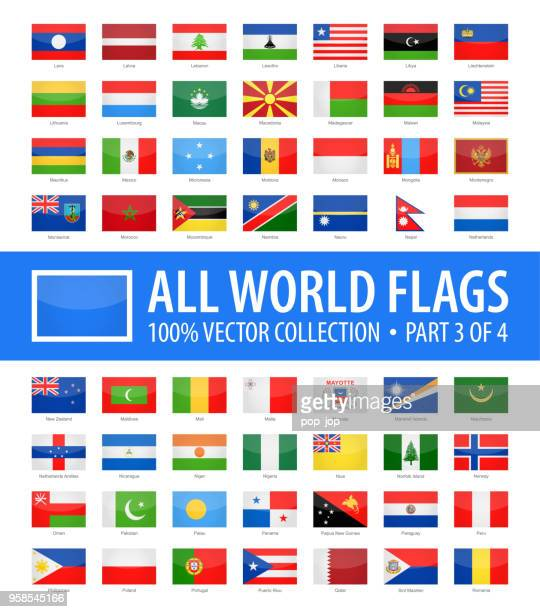 world flags - vector rectangle glossy icons - part 3 of 4 - national flag stock illustrations