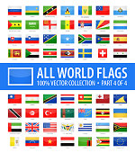 World Flags - Vector Rectangle Glossy Icons - Part 4 of 4