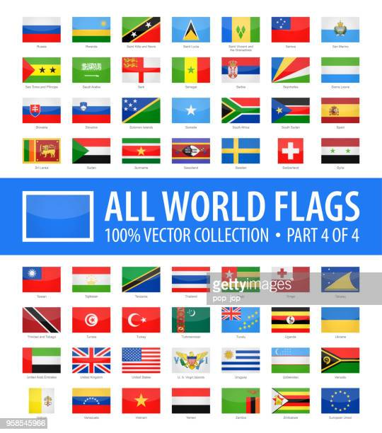 world flags - vector rectangle glossy icons - part 4 of 4 - flag stock illustrations
