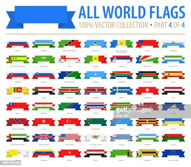 Världens flaggor - vektor band platt ikoner - del 4 av 4
