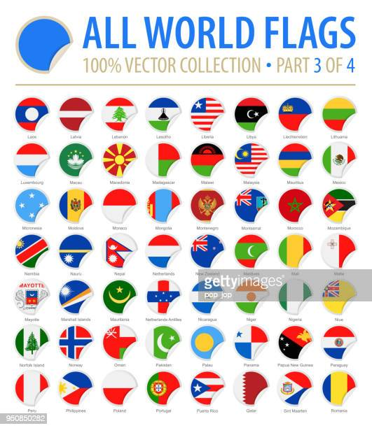 World Flags - Vector Round Corner Flat Icons - Part 3 of 4