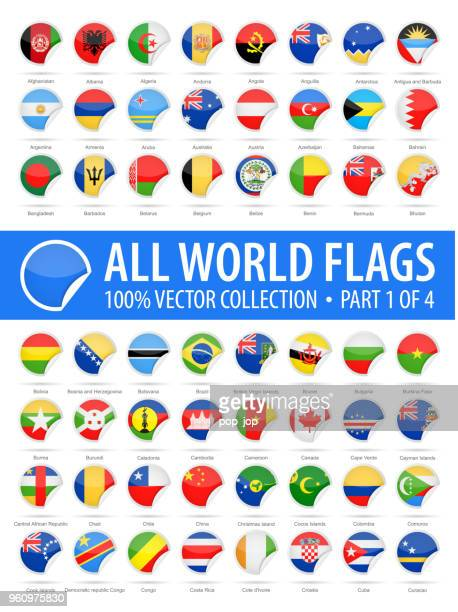 world flags - vector round corner glossy icons - part 1 of 4 - croatian flag stock illustrations, clip art, cartoons, & icons