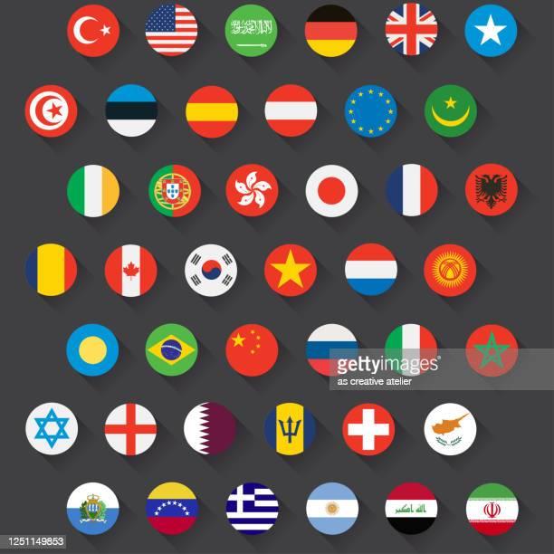 ilustrações de stock, clip art, desenhos animados e ícones de world flags - vector round flat icons and shadows dark background. - turquia