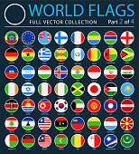 World Flags - Vector Round Flat Icons on Dark Background - Part 2 of 4