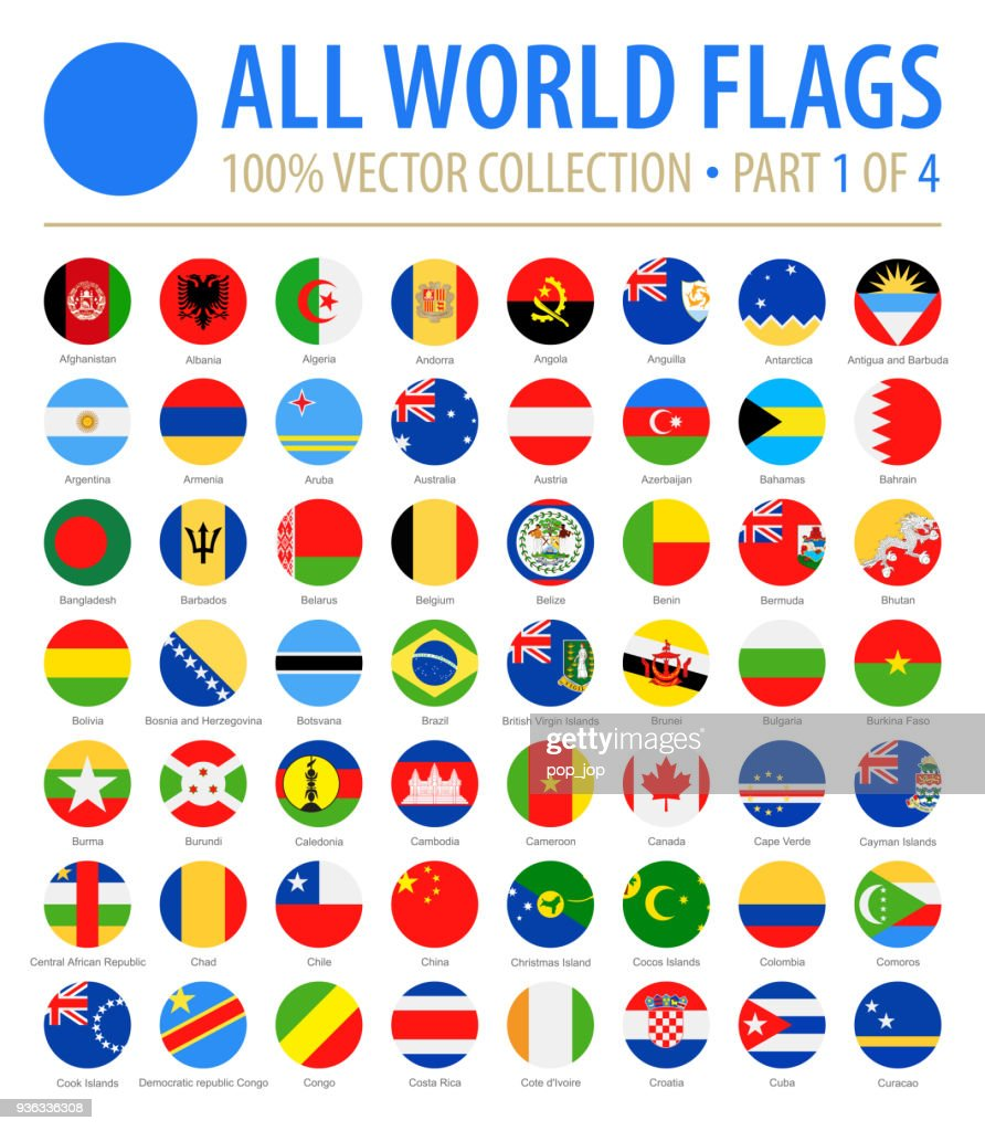 World Flags - Vector Round Flat Icons - Part 1 of 4 : stock illustration