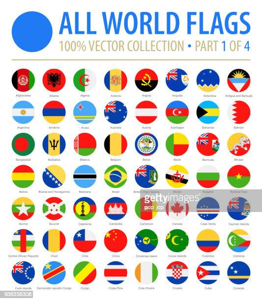 world flags - vector round flat icons - part 1 of 4 - flag stock illustrations