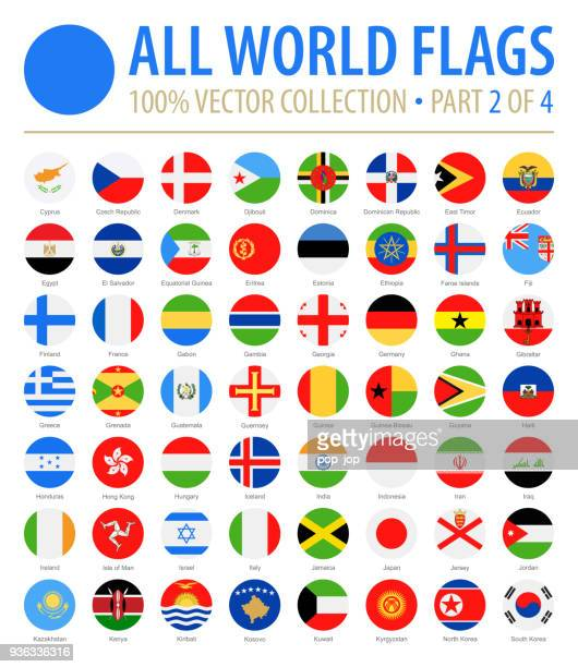 world flags - vector round flat icons - part 2 of 4 - vertical stock illustrations