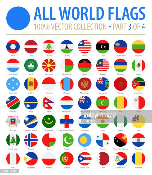 world flags - vector round flat icons - part 3 of 4 - flag stock illustrations