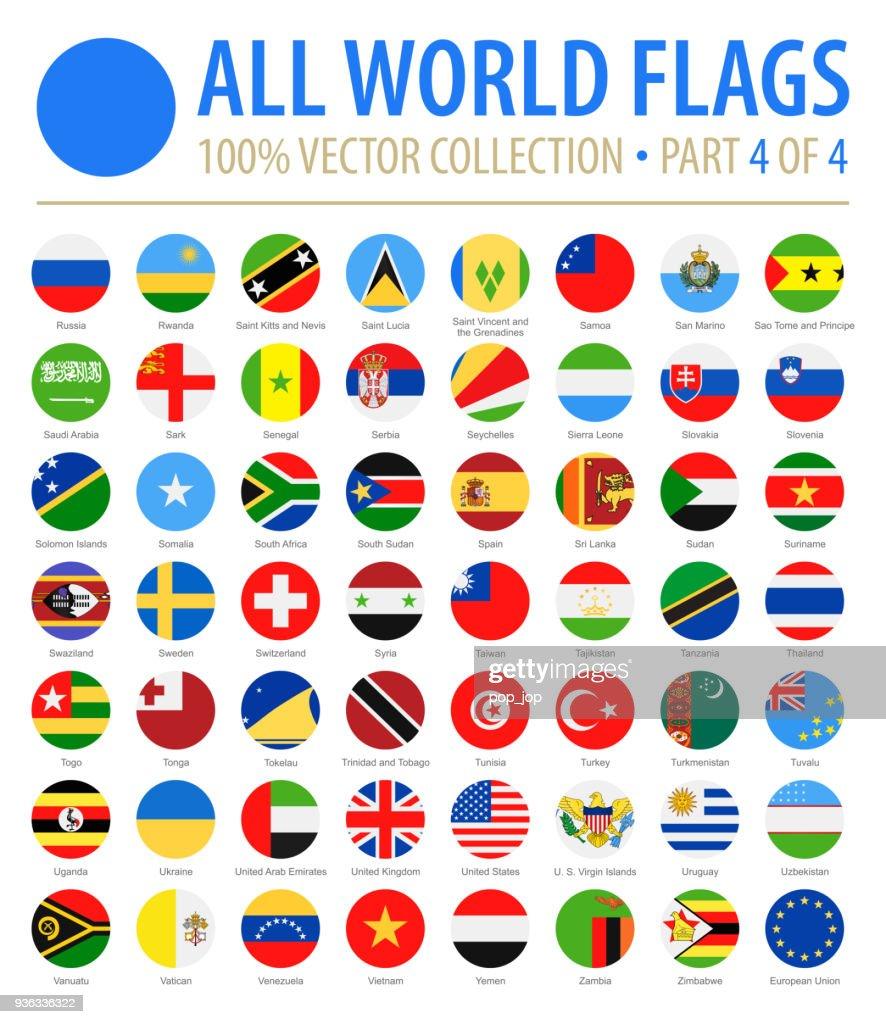 Bandeiras do mundo - Vector Icons lisos redondos - parte 4 de 4 : Ilustração