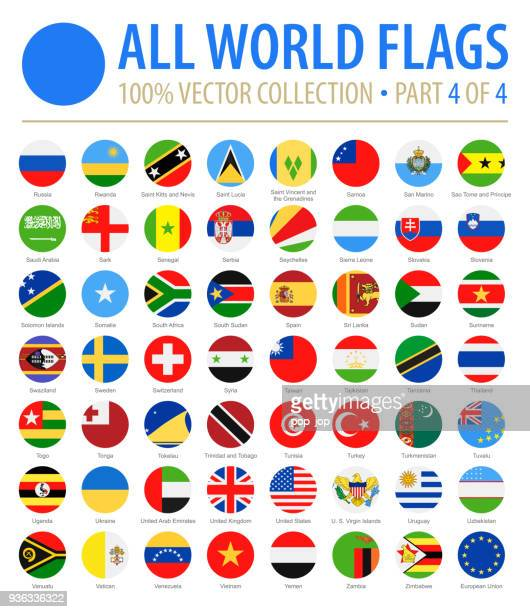 world flags - vector round flat icons - part 4 of 4 - all european flags stock illustrations