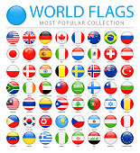 World Flags - Vector Round Glossy Icons - Most Popular