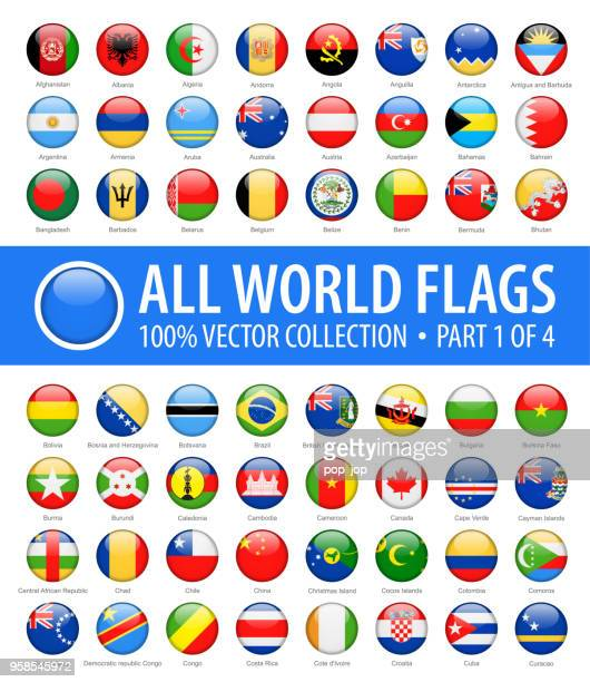 world flags - vector round glossy icons - part 1 of 4 - national flag stock illustrations