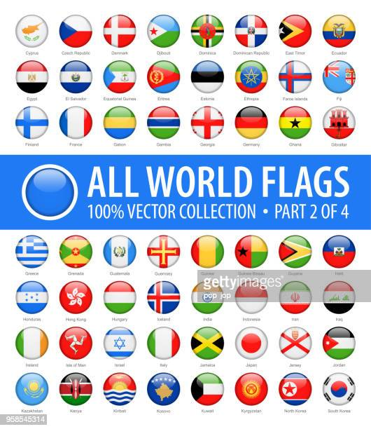 world flags - vector round glossy icons - part 2 of 4 - shiny stock illustrations