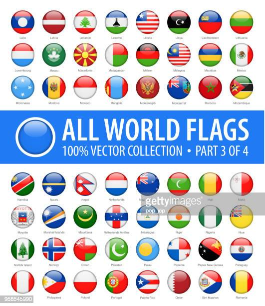 world flags - vector round glossy icons - part 3 of 4 - national flag stock illustrations