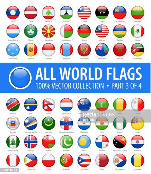 welt-flaggen - vektor-runde glänzende symbole - teil 3 von 4 - polnische flagge stock-grafiken, -clipart, -cartoons und -symbole