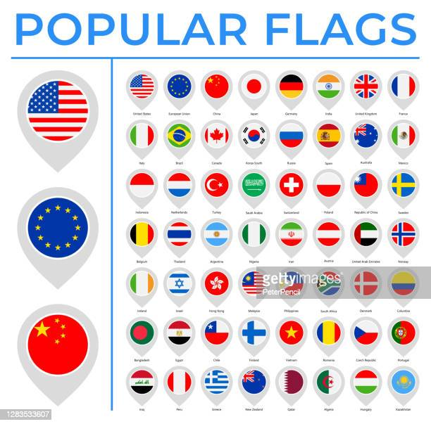 world flags - vector round pin flat icons - most popular - all european flags stock illustrations