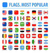 World Flags - Vector Rounded Square Flat Icons - Most Popular