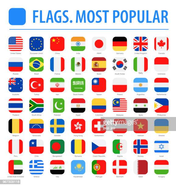 world flags - vector rounded square flat icons - most popular - national flag stock illustrations