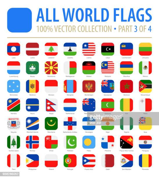 world flags - vektor gerundete quadrat flach symbole - teil 3 von 4 - polnische flagge stock-grafiken, -clipart, -cartoons und -symbole