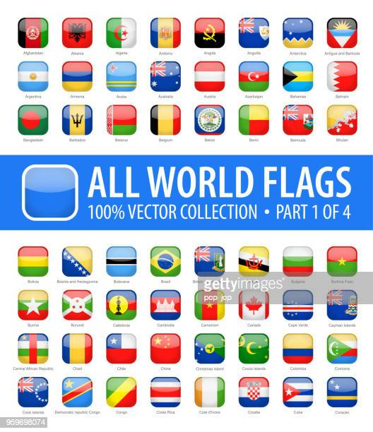 world flags - vector rounded square glossy icons - part 1 of 4 - national flag stock illustrations